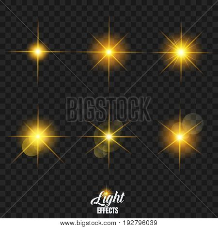 Shining stars with highlight effect. Glowing particles with golden bokeh light and rays.