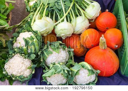 Cauliflower, celery and pumpkin for sale at a market
