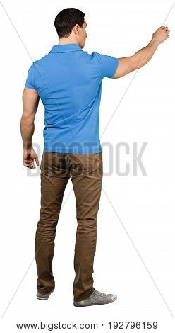 Young man fit casual standing arm outstretched white
