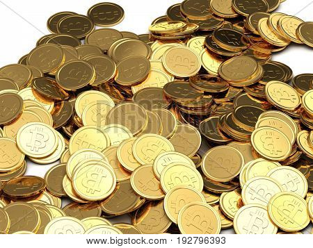 Golden Bitcoins background. New virtual money. 3D illustration.