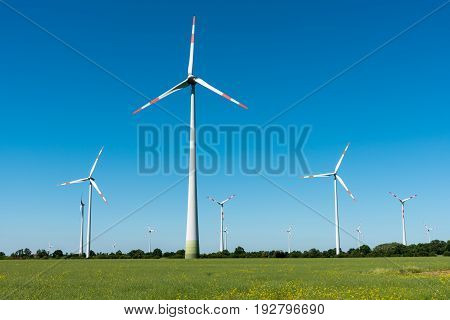 Wind power generators seen in rural Germany