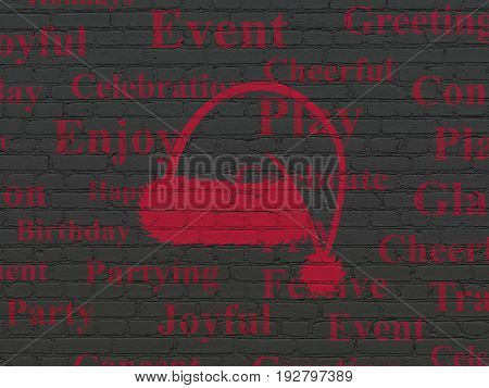 Entertainment, concept: Painted red Christmas Hat icon on Black Brick wall background with  Tag Cloud