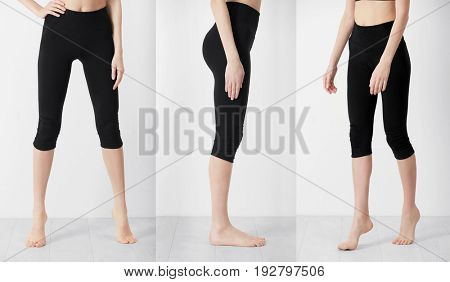 Different views of young woman in sport pants on light wall background