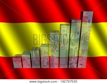 Currency graph on rippled Spain flag 3d illustration