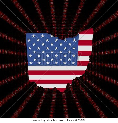 Ohio map flag on red hex code burst 3d illustration