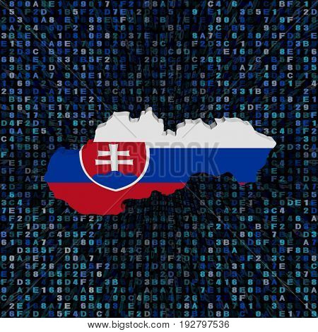 Slovakia map flag on hex code 3d illustration