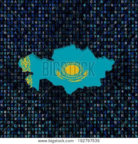 Kazakhstan map flag on hex code 3d illustration