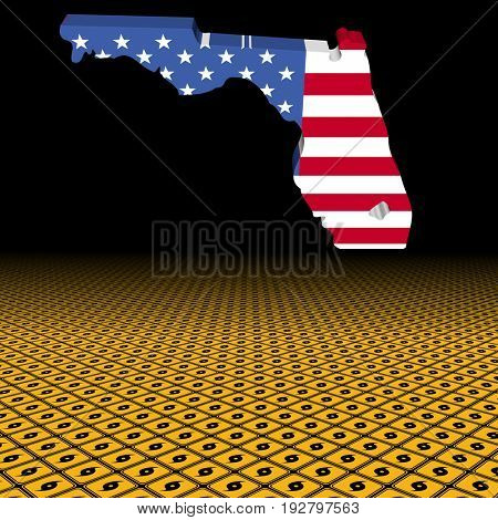 Florida map flag with hurricane warning sign foreground 3d illustration