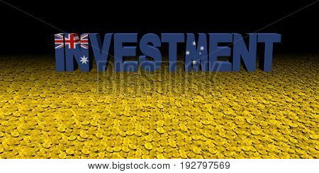 Investment text with Australian flag on coins 3d illustration