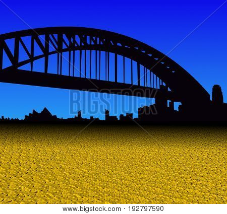 Sydney skyline with golden dollar coins foreground 3d illustration