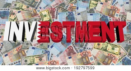 Investment text with Bahrain flag on currency 3d illustration