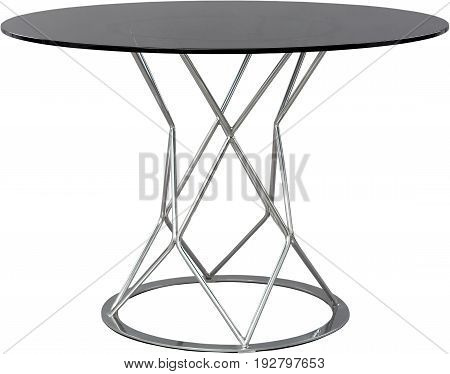 round glass dinning table. Modern designer, table isolated on white background. Series of furniture
