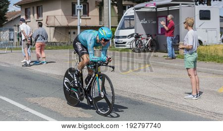 Bourgoin-Jallieu France - 07 May 2017: The Danish cyclist Jakob Fuglsang of Astana Team riding during the time trial stage 4 of Criterium du Dauphine 2017.Fuglsan won the race.