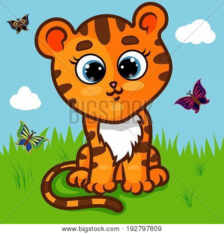 Tiger Cub (Panthera Tigris) Character on Grass, Butterflies, Cartoon Hand Drawn Vector Illustration EPS 10