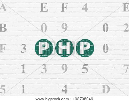 Software concept: Painted green text Php on White Brick wall background with Hexadecimal Code