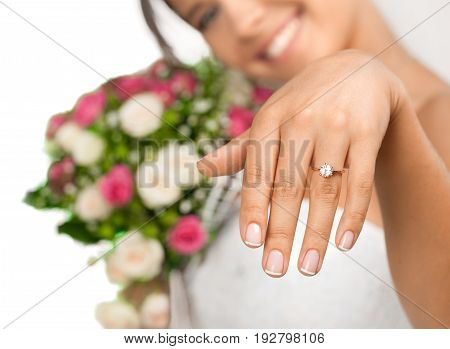 Beautiful bride ring showing white background luxury
