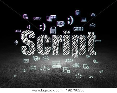 Database concept: Glowing text Script,  Hand Drawn Programming Icons in grunge dark room with Dirty Floor, black background