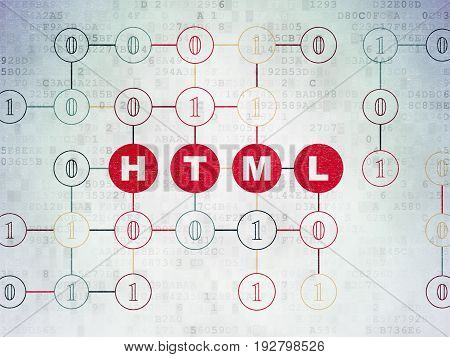 Database concept: Painted red text Html on Digital Data Paper background with Binary Code