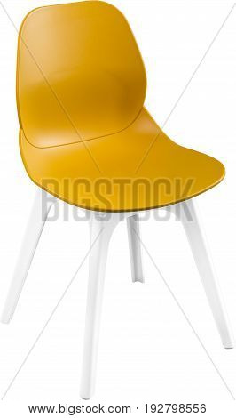 mustard color plastic chair, modern designer. Chair isolated on white background. furniture and interior.