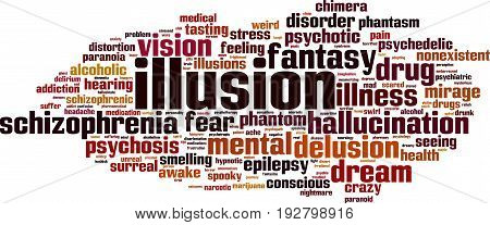 Illusion word cloud concept. Vector illustration on white