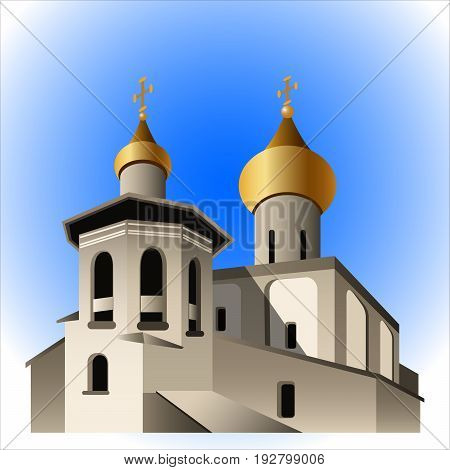 church with golden domes on blue sky background vector illustration