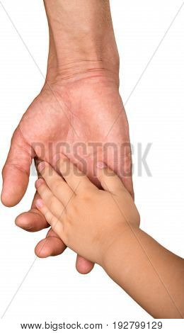 Hand hold baby father white small closeup