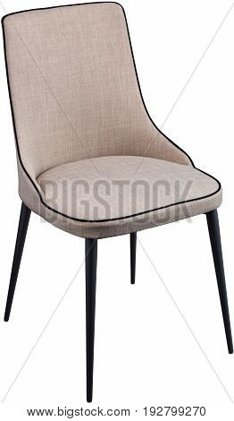 Designer gray dining chair on black metal legs. Modern soft chair isolated on white background