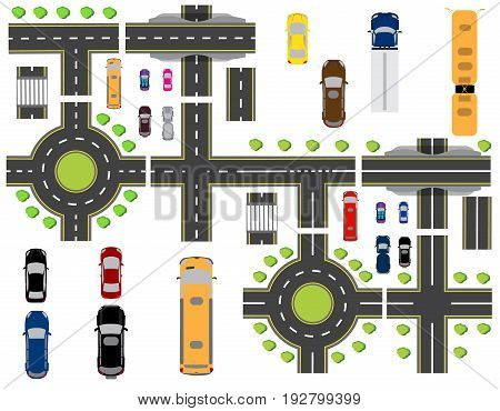 Set of abstract road junctions. Crossroads of various roads. Circular motion and bridges. Vector illustration