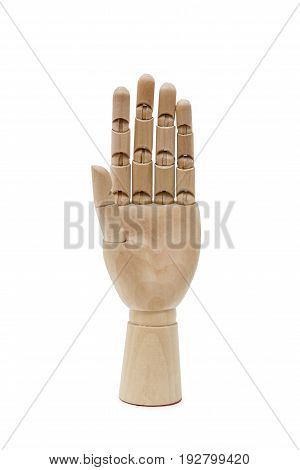 Wooden hand isolated on the white background