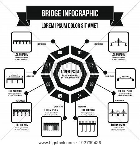 Bridge infographic banner concept. Simple illustration of bridge infographic vector poster concept for web