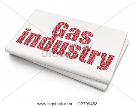 Manufacuring concept: Pixelated red text Gas Industry on Blank Newspaper background, 3D rendering