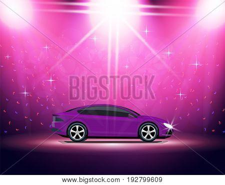 Lighting stage, podium, auto show. Automobile Exhibition. Purple car Vector illustration