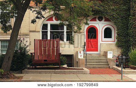 Boston, Massachusetts - September 13, 2014. The house in Boston, Massachusetts, decorated with Dr. Seuss