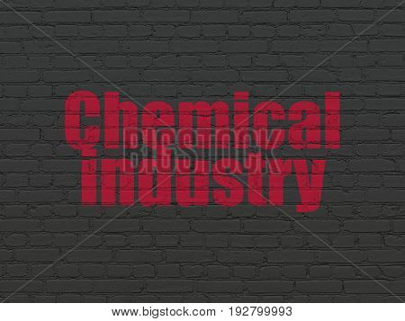 Industry concept: Painted red text Chemical Industry on Black Brick wall background