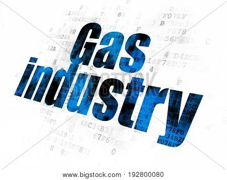 Manufacuring concept: Pixelated blue text Gas Industry on Digital background