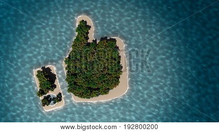 Tropical Island In The Form Of Thumb Up