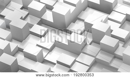 Abstract background of cubes and parallelepipeds in white colors with shadows