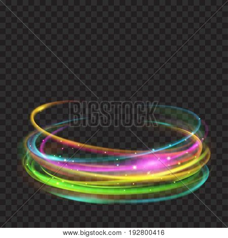 Multicolored Glowing Fire Rings With Glitters