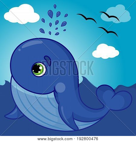 Cute Whale Character Smiling with Water Fountain Blow, Cartoon Hand Drawn