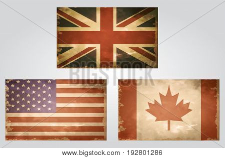 British USA and Canada flags grange old style in vintage colors vector set