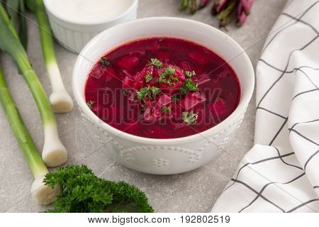 Borsch - Beetroot Soup. Ukrainian And Russian Traditional Vegetable Vegetarian Red Soup