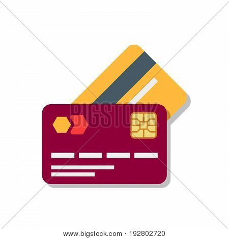 Banking or debit plastic card with shadow isolated on white background. Vector illustration in a flat style