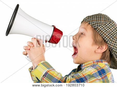One little boy shouting shout megaphone play