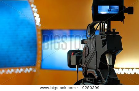 TV studio with camera - Prepared for the production and shooting poster