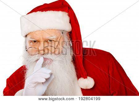 Sign claus santa showing santa claus silence sign holiday background