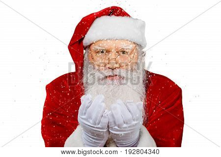 Claus santa sends santa claus air kiss holiday background holiday party