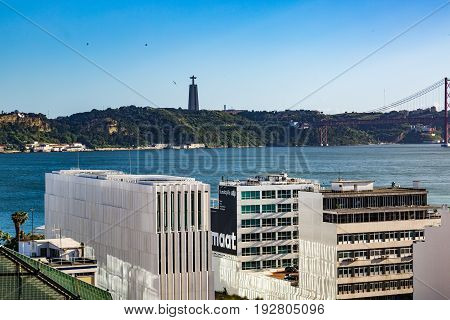 Lisbon, Portugal - May 18, 2017: View Of The Tagus River From The Alfama Neighborhood.