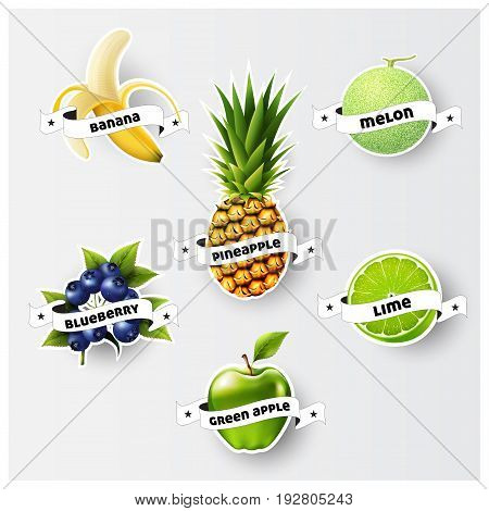 Set of banana, green apple, melon, cantaloupe, pineapple, blueberry, lime, juice,smoothie, milk, cocktail and fresh labels splash. sticker, advertisement concept vector illustration