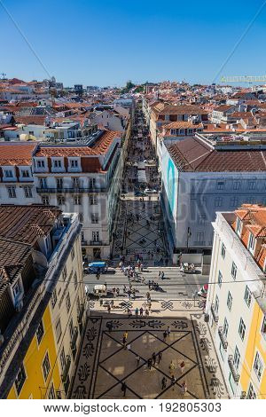 Lisbon, Portugal - May 19, 2017: Aerial View Of Commercial Street Rua Augusta