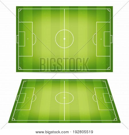 Soccer Field Collection. Football Fields With Trampled Down Grass. Top View And Perspective View